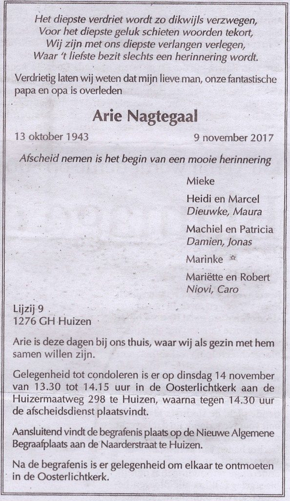 In Memoriam Arie